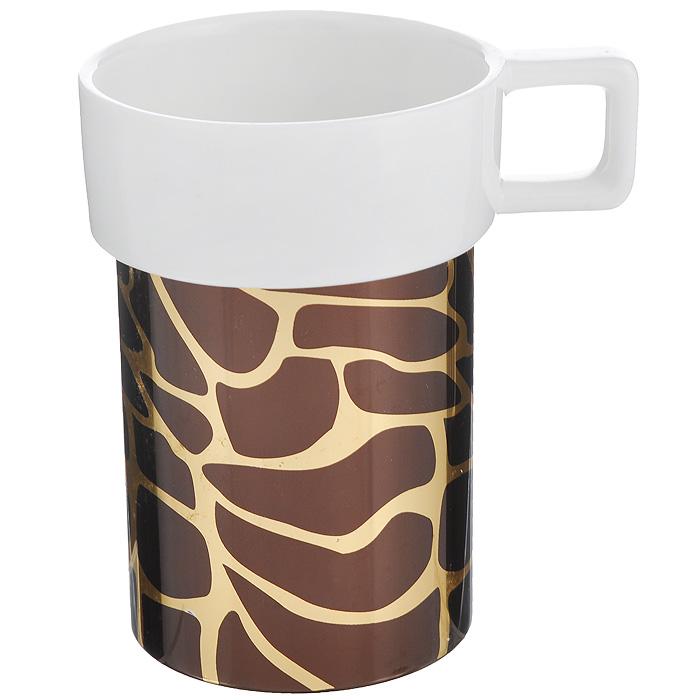 Кружка Amber Porcelain Жираф, цвет: белый, золотистый, коричневый, 220 мл214184Кружка Amber Porcelain Жираф, выполненная из фарфора, имеет оригинальную форму и дизайн. Дно изделия оснащено силиконовой накладкой. Такая кружка порадует вас дизайном и функциональностью, а пить чай или кофе из нее станет еще приятнее.