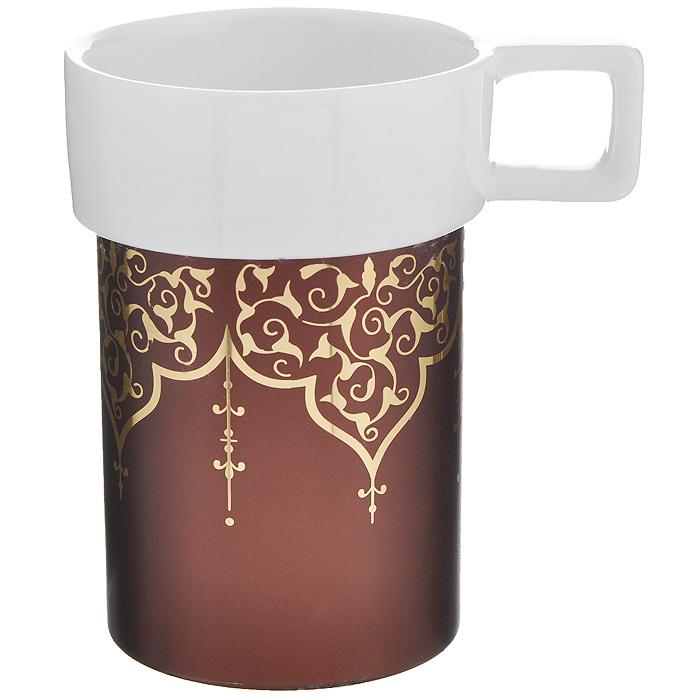 Кружка Amber Porcelain Орнамент, цвет: белый, коричневый, 220 мл214176Кружка Amber Porcelain Орнамент, выполненная из фарфора, имеет оригинальную форму и яркий дизайн. Дно изделия оснащено силиконовой накладкой. Такая кружка порадует вас дизайном и функциональностью, а пить чай или кофе из нее станет еще приятнее.