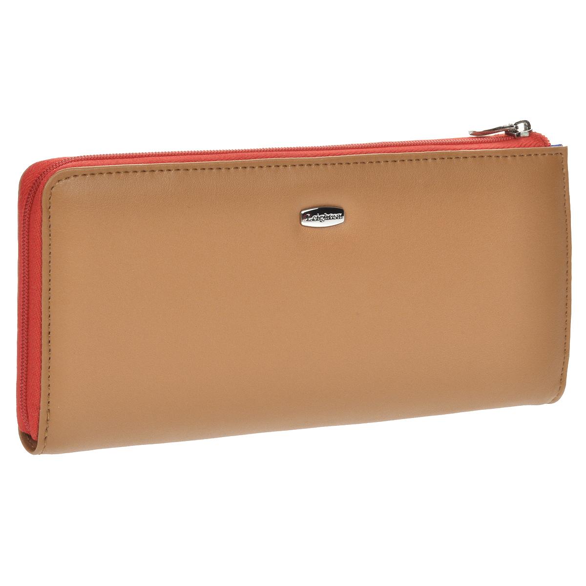 """Кошелек женский """"Leighton"""", цвет: коричневый, красный. 22148-3/18"""
