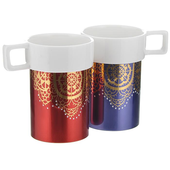 Набор кружек Amber Porcelain Ажурная салфетка, 220 мл, 2 шт214169Набор Amber Porcelain Ажурная салфетка состоит из двух кружек, выполненных из фарфора. Кружки оригинальной формы оформлены золотистым орнаментом и имитацией страз. Дно изделий оснащено силиконовой накладкой. Этот необычный набор станет великолепным подарком для каждого и, несомненно, вызовет восхищение.