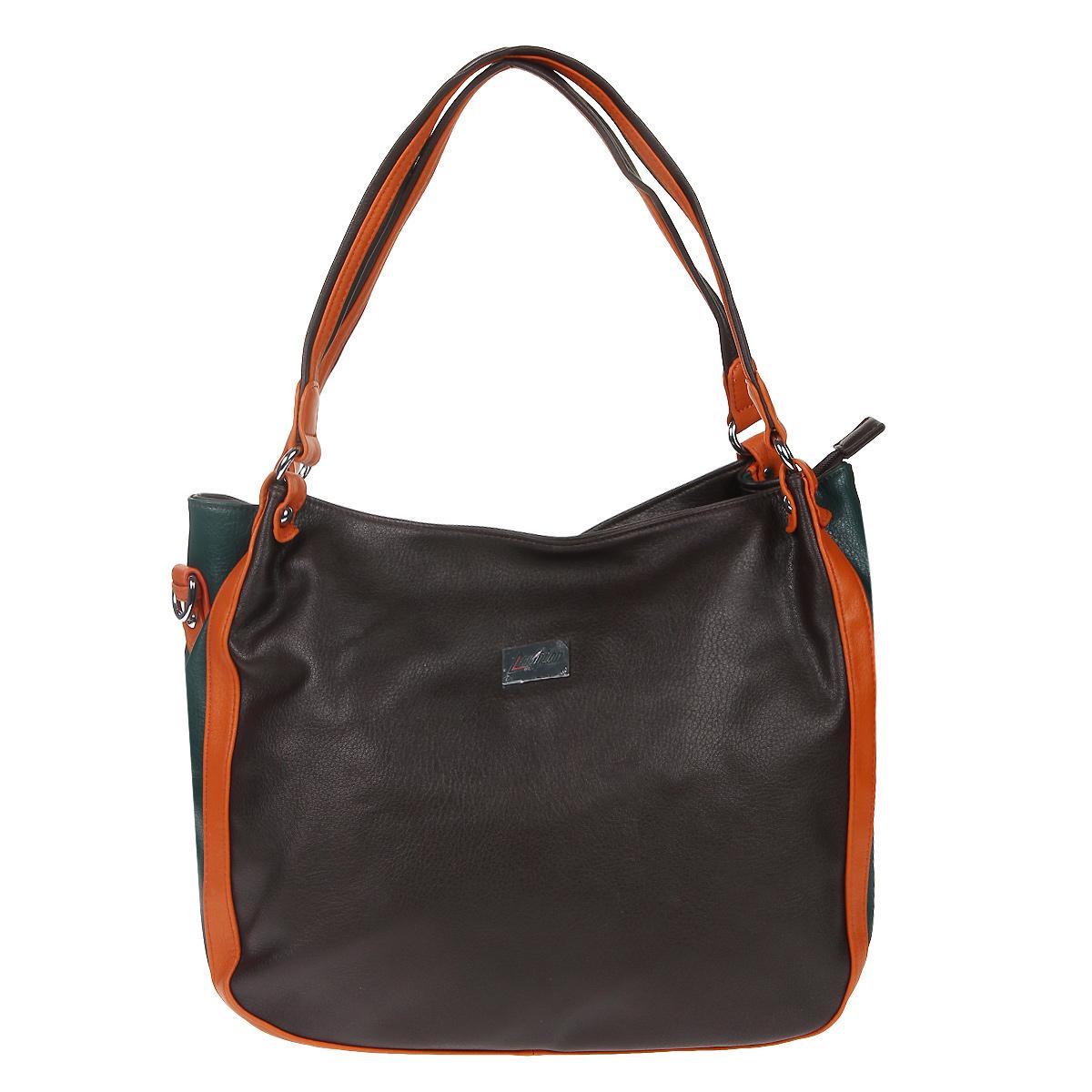 Сумка женская Leighton, цвет: коричневый, оранжевый, зеленый. 76602-14976602-149/2/149/5/149/19Модная женская сумка Leighton изготовлена из искусственной кожи и исполнена в трех цветах. Модель оформлена спереди металлической пластиной с гравировкой в виде логотипа бренда. Изделие закрывается на застежку-молнию. Внутри - одно вместительное отделение, разделенное средником, два накладных кармана для мелочей, телефона и врезной карман на застежке-молнии. На тыльной стороне расположен карман на застежке-молнии. Фурнитура - серебряного цвета. Дно оформлено металлическими ножками. В комплекте с сумкой идет плечевой съемный ремень на карабинах, регулируемый по длине. Изделие упаковано в фирменный чехол. Цветовое сочетание, стильная фактура кожи и модный дизайн сумки не оставят равнодушной ни одну представительницу прекрасной половины человечества.