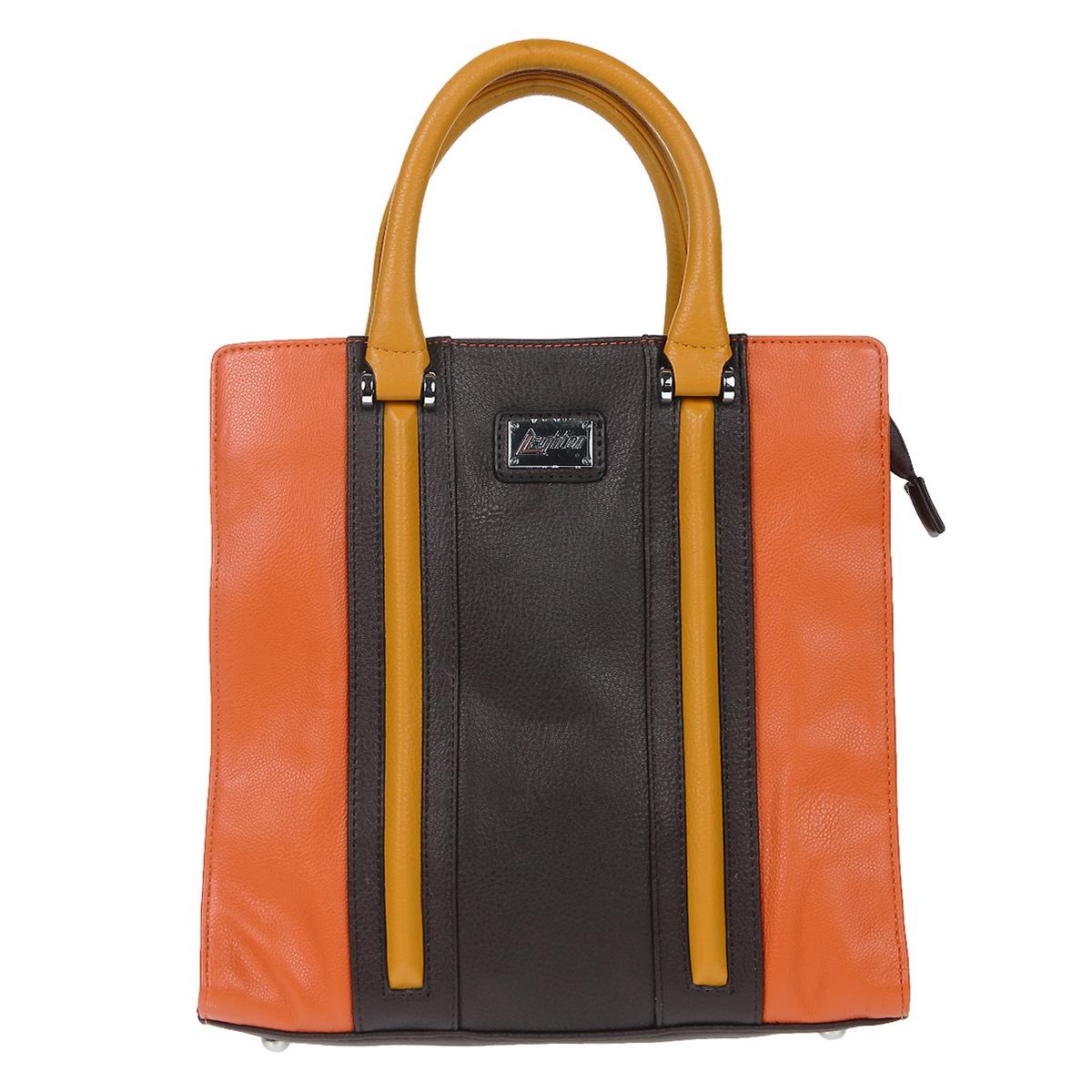 """Сумка женская Leighton, цвет: оранжевый, коричневый. 570519-149570519-149/19/149/20/149Стильная сумка Leighton выполнена из искусственной кожи в оранжево-коричневой цветовой гамме и оформлена декоративной отстрочкой. Сумка имеет одно вместительное отделение, закрывающееся на застежку-молнию. Внутри - смежный карман на молнии, два накладных кармашка для мелочей и вшитый карман на молнии. На задней стенке сумки предусмотрен дополнительный карман на молнии. Сумка оснащена двумя ручками, в комплекте плечевой ремень. Дно защищено металлическими """"ножками"""". Фурнитура серебристого цвета. Модная сумка подчеркнет ваш яркий стиль и сделает образ модным и завершенным."""