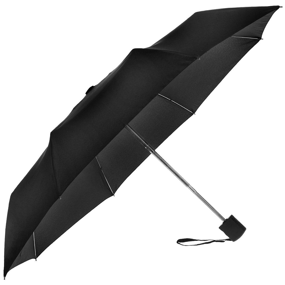 """Зонт мужской Fulton, автомат, 3 сложения, цвет: черный. G819 3F00G819 3F001Стильный зонт """"Fulton"""" даже в ненастную погоду позволит вам оставаться элегантным. """"Ветростойкий"""" плоский каркас зонта в 3 сложения состоит из восьми алюминиевых спиц с элементами из фибергласса, стержень выполнен из стали. Зонт оснащен удобной рукояткой из прорезиненного пластика. Купол зонта выполнен из прочного полиэстера черного цвета. К зонту прилагается чехол. Зонт автоматического сложения: купол открывается и закрывается нажатием кнопки, стержень складывается вручную до характерного щелчка."""