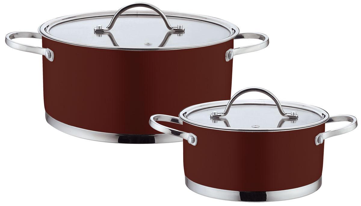 Набор посуды Bohmann, цвет: коричневый, 4 предметов. 0414BH0414BHNEWНабор Bohmann состоит из 2 кастрюль разного объема с крышками. Изделия выполнены из высококачественной нержавеющей стали. Прочность, долговечность и надежность этого материала, а так же первоклассная обработка изделий обеспечивают практически неограниченный запас прочности и неизменно привлекательный внешний вид посуды. Внешнее цветное покрытие придает посуде особо эстетичный внешний вид. Идеально ровная внутренняя поверхность значительно облегчает мытье. Кастрюли имеют многослойное капсульное дно с алюминиевым основанием, которое быстро и равномерно накапливает тепло и так же равномерно передает его пище. Капсульное дно позволяет готовить блюда с минимальным количеством воды и жира, сохраняя при этом вкусовые и питательные свойства продуктов. Применение технологии многослойного дна создает эффект удержания тепла - пища готовится и после отключения плиты благодаря термоаккумулирующим свойствам посуды. Внутренние стенки имеют отметки литража. ...
