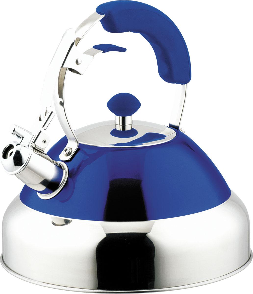 Чайник Bohmann со свистком, цвет: синий, 4 л. BH-99879987BHЧайник Bohmann изготовлен из высококачественной нержавеющей стали с зеркальной полировкой и оформлен цветной эмалью. Нержавеющая сталь - материал, из которого в течение нескольких десятилетий во всем мире производятся столовые приборы, кухонные инструменты и различные аксессуары. Этот материал обладает высокой стойкостью к коррозии и кислотам. Прочность, долговечность и надежность этого материала, а также первоклассная обработка обеспечивают практически неограниченный запас прочности и неизменно привлекательный внешний вид. Чайник оснащен удобной ручкой с цветной силиконовой вставкой, что предотвращает появление ожогов и обеспечивает безопасность использования. Благодаря широкому верхнему отверстию, в чайник удобно заливать воду и прочищать его изнутри. Носик чайника имеет откидной свисток для определения кипения, который открывается нажатием рычага на ручке. Можно использовать на газовых, электрических, галогенных, стеклокерамических, индукционных плитах. Можно мыть...