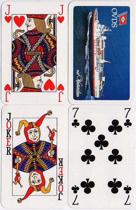 Игральные карты OVDS. Колода 52 карты и 2 джокера. Западная Европа, 1980-е гг.TS 6287Карты игральные OVDS. Колода: 52 карты и 2 джокера. Картон с пластиковым покрытием. Западная Европа, 1980-е гг. Размер: 9 х 5,5 см. Оригинальная упаковка. Сохранность очень хорошая, без повреждений.