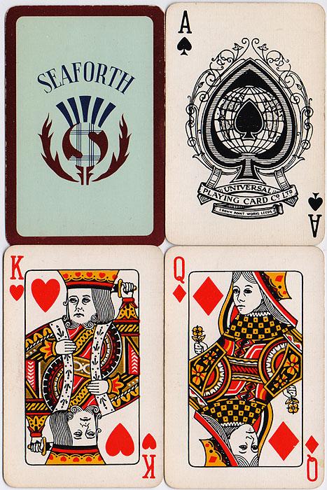 Игральные карты Seaforth. Колода 52 карты. Италия, 1980-е гг.791504Карты игральные Seaforth. Колода: 52 карты. Картон с пластиковым покрытием. Италия, 1980-е гг. Размер: 9 х 5,5 см. Сохранность очень хорошая, без повреждений.