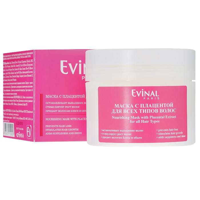 Evinal Питательная маска с плацентой, для всех типов волос, 250 мл0929Питательная маска Evinal с плацентой предназначена для всех типов волос. Маска надежно останавливает выпадение волос, усиливает рост новых волос, увеличивает толщину и блеск волос. Характеристики: Объем: 250 мл. Артикул: 0929. Производитель: Россия. Товар сертифицирован.