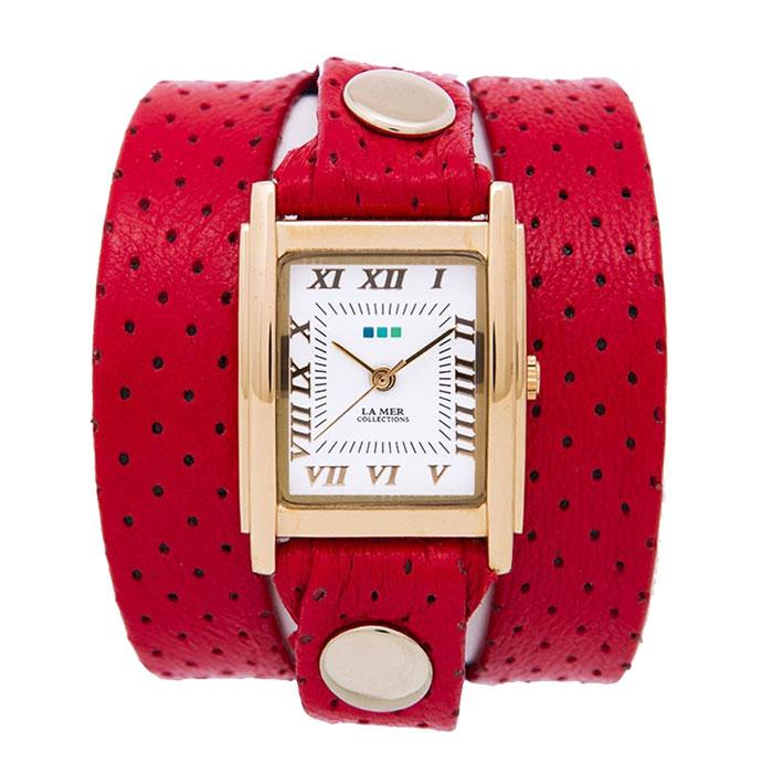 Часы наручные женские La Mer Collections Simple Red Perforated. LMSTW3006xLMSTW3006xЧасы оснащены японским кварцевым механизмом. Корпус прямоугольной формы выполнен из нержавеющей стали золотистого цвета. Оригинальный кожаный ремешок красного цвета отделан металлическими клепками. Каждая модель женских наручных часов La Mer Collections имеет эксклюзивный дизайн, в основу которого положено необычное сочетание классических циферблатов с удлиненными кожаными ремешками. Оборачиваясь вокруг запястья несколько раз, они образуют эффект кожаного браслета, превращая часы в женственный аксессуар, который великолепно дополнит другие аксессуары и весь образ в целом. Дизайн La Mer Collections отвечает всем последним тенденциям моды и превосходно сочетается с модными сумками, ремнями, обувью и другими элементами гардероба современных девушек. Часы La Mer - это еще и отличный подарок любимой девушке, сестре или подруге на день рождения, восьмое марта или новый год!