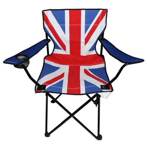 Стул складной Экспедиция Британский флагEBRIT-01Long live the queen! Да здравствует королева, а также король, сидящие на троне! Этот стильный и яркий туристический стул в дизайне британского флага станет вашим дорожным фаном и личным троном на долгие годы. Как и подобает королевскому стулу, он легкий, но надежный, может удерживать вес до 130 кг, выполнен в эргономичном дизайне, быстро складывается и раскладывается, снабжен удобными подлокотниками и подстаканником. Теперь любой будет знать, что место над британским флагом - только ваше и ничье другое!