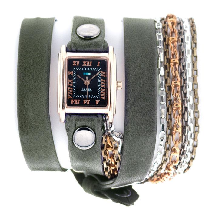 Часы наручные женские La Mer Collections Chain Portland. LMSCW7000xLMSCW7000xЧасы оснащены японским кварцевым механизмом. Корпус прямоугольной формы выполнен из нержавеющей стали золотистого цвета. Оригинальный кожаный ремешок цвета хаки отделан металлическими клепками и дополнен связкой цепочек. Каждая модель женских наручных часов La Mer Collections имеет эксклюзивный дизайн, в основу которого положено необычное сочетание классических циферблатов с удлиненными кожаными ремешками. Оборачиваясь вокруг запястья несколько раз, они образуют эффект кожаного браслета, превращая часы в женственный аксессуар, который великолепно дополнит другие аксессуары и весь образ в целом. Дизайн La Mer Collections отвечает всем последним тенденциям моды и превосходно сочетается с модными сумками, ремнями, обувью и другими элементами гардероба современных девушек. Часы La Mer - это еще и отличный подарок любимой девушке, сестре или подруге на день рождения, восьмое марта или новый год!