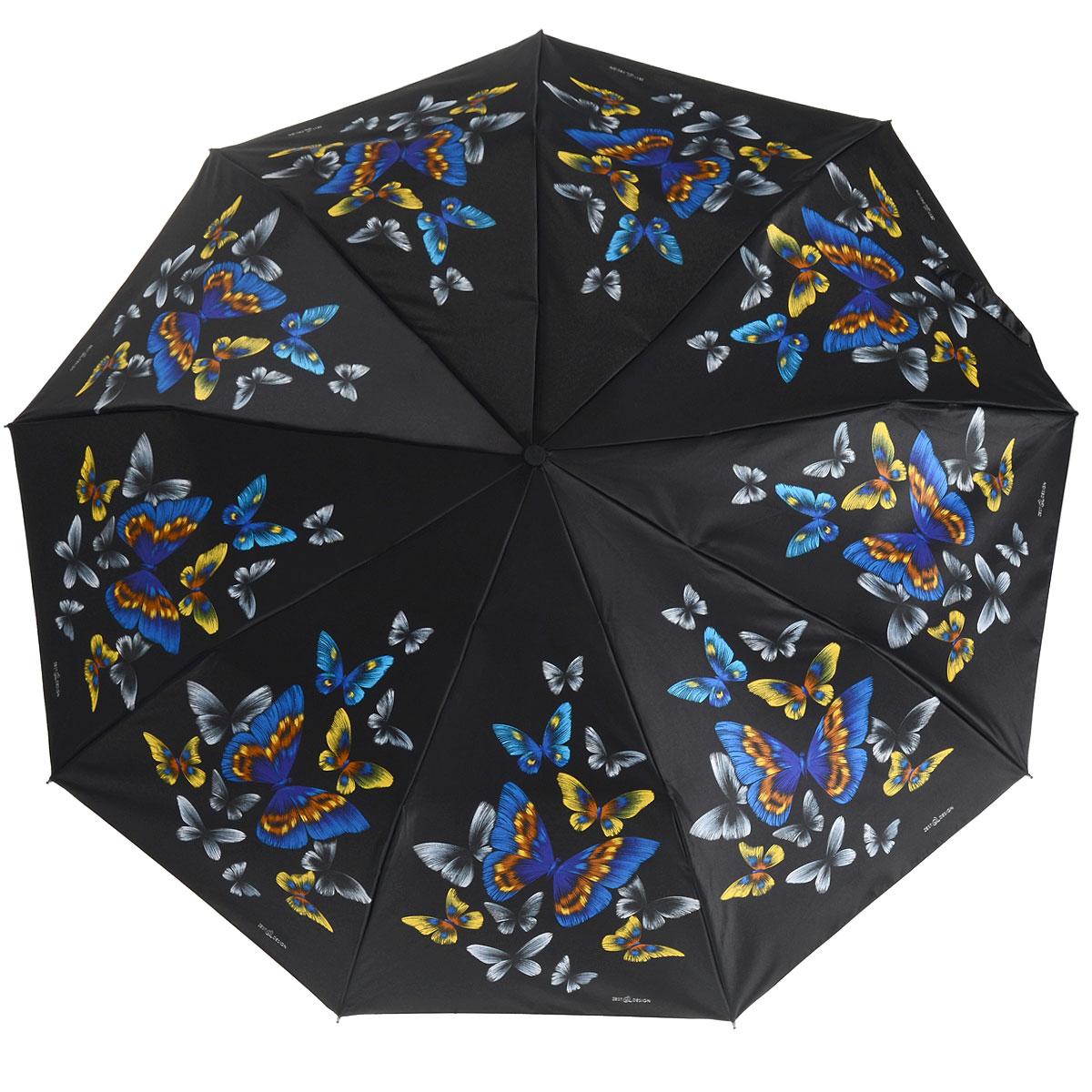 Зонт Zest, автомат, 3 сложения, цвет: черный, синий. 239444-55239444-55Стильный автоматический зонт Zest в 3 сложения, даже в ненастную погоду позволит Вам оставаться стильной и элегантной. Детали каркаса изготовлены из высокопрочных материалов с покрытием, исключающим коррозию. Рукоятка разработана с учетом требований эргономики и выполнена из прорезиненного пластика. Зонт имеет полный автоматический механизм сложения: купол открывается и закрывается нажатием кнопки на рукоятке, стержень складывается вручную до характерного щелчка, благодаря чему открыть и закрыть зонт можно одной рукой, что чрезвычайно удобно при входе в транспорт или помещение. Специальная система защищает зонт от поломок при сильном ветре. Купол зонта выполнен из прочного полиэстера и оформлен оригинальным рисунком. Стойкие красители и пропитка ткани купола обеспечивают длительное сохранение свойств зонта. На рукоятке для удобства есть небольшой шнурок, позволяющий надеть зонт на руку тогда, когда это будет необходимо. Компактные размеры зонта в...