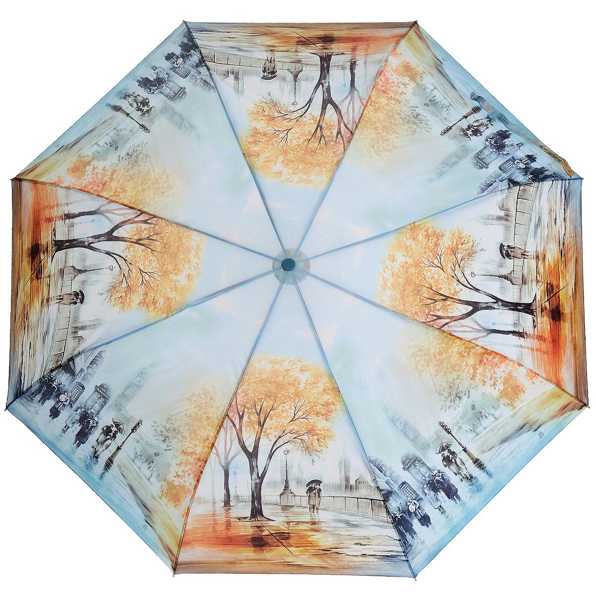 Зонт Zest, автомат, 3 сложения, цвет: голубой. 239555-86239555-86Стильный автоматический зонт Zest в 3 сложения, даже в ненастную погоду позволит Вам оставаться стильной и элегантной. Детали каркаса изготовлены из высокопрочных материалов с покрытием, исключающим коррозию. Рукоятка разработана с учетом требований эргономики и выполнена из прорезиненного пластика. Зонт имеет полный автоматический механизм сложения: купол открывается и закрывается нажатием кнопки на рукоятке, стержень складывается вручную до характерного щелчка, благодаря чему открыть и закрыть зонт можно одной рукой, что чрезвычайно удобно при входе в транспорт или помещение. Специальная система защищает зонт от поломок при сильном ветре. Купол зонта выполнен из прочного полиэстера и оформлен оригинальным рисунком. Стойкие красители и пропитка ткани купола обеспечивают длительное сохранение свойств зонта. На рукоятке для удобства есть небольшой шнурок, позволяющий надеть зонт на руку тогда, когда это будет необходимо. Компактные размеры зонта в...