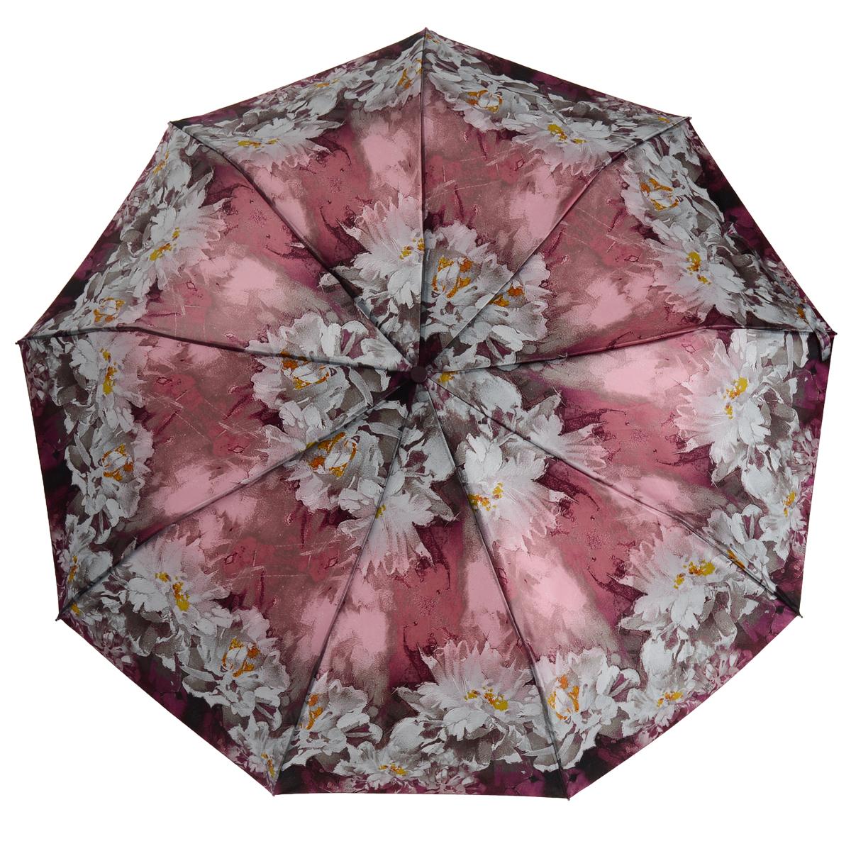 Зонт Zest, автомат, 3 сложения, цвет: фиолетовый. 239444-34239444-34Автоматический зонт Zest в 3 сложения даже в ненастную погоду позволит вам оставаться стильной и элегантной. Купол зонта выполнен из полиэстера и оформлен оригинальным рисунком. Каркас зонта выполнен из девяти спиц и оснащен удобной прорезиненной рукояткой из пластика. Зонт имеет полный автоматический механизм сложения: купол открывается и закрывается нажатием кнопки на рукоятке. Стержень складывается вручную до характерного щелчка, благодаря чему открыть и закрыть зонт можно одной рукой, что чрезвычайно удобно при входе в транспорт или помещение. На рукоятке, для удобства, есть небольшой шнурок-резинка, позволяющий надеть зонт на руку тогда, когда это будет необходимо. К зонту прилагается чехол, такого же дизайна как купол.