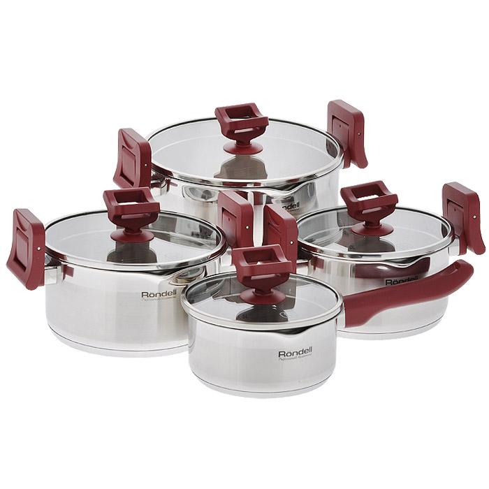 Набор посуды Rondell Erste, 8 предметов. RDS-390RDS-390Набор посуды Rondell Erste состоит из 3 кастрюль с крышками и ковша с крышкой. Посуда выполнена из высококачественной нержавеющей стали 18/10, что гарантирует безупречный внешний вид посуды, практичность и долговечность. Уникальный 2-х этапный метод технологии тройного дна с вштампованным, а затем вплавленным алюминиевым диском позволяет равномерно распределять и значительно дольше сохранять тепло по стенкам и дну посуды, что предотвращает пригорание пищи и обеспечивает более быстрое приготовление блюд. Посуда продолжает готовить даже после выключения плиты. Аккумуляция тепла при закрытой крышке создает замкнутый цикл парообразования, позволяя готовить в такой посуде без использования масла и воды или же с их минимальным количеством, что позволяет сохранить натуральный вкус продуктов. Крышки, выполненные из термостойкого стекла, позволяют контролировать процесс приготовления без потери тепла. Оригинальный дизайн крышки и ручек кастрюль позволяет вам сливать жидкость без...