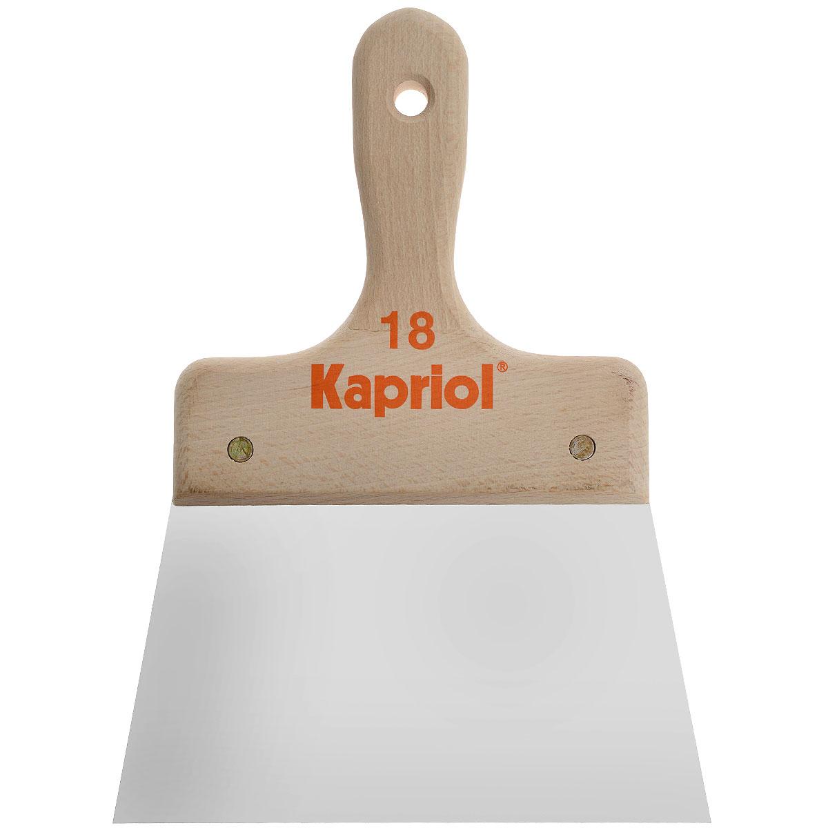 Шпатель полужесткий Kapriol, с деревянной ручкой, 18 см23223Шпатель полужесткий Kapriol с деревянной ручкой используется при внутренней отделке помещений для шпаклевания стен и потолков специальными растворами. Особенности шпателя: Полотно - средней жесткости; Полотно изготовлено из закаленной хромированной стали; Деревянная рукоятка.