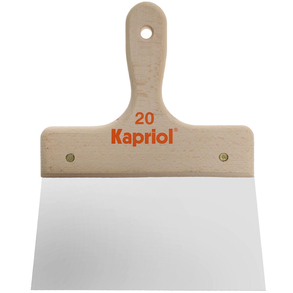 Шпатель полужесткий Kapriol, с деревянной ручкой, 20 см23220Шпатель полужесткий Kapriol с деревянной ручкой используется при внутренней отделке помещений для шпаклевания стен и потолков специальными растворами. Особенности шпателя: Полотно - средней жесткости; Полотно изготовлено из закаленной хромированной стали; Деревянная рукоятка.