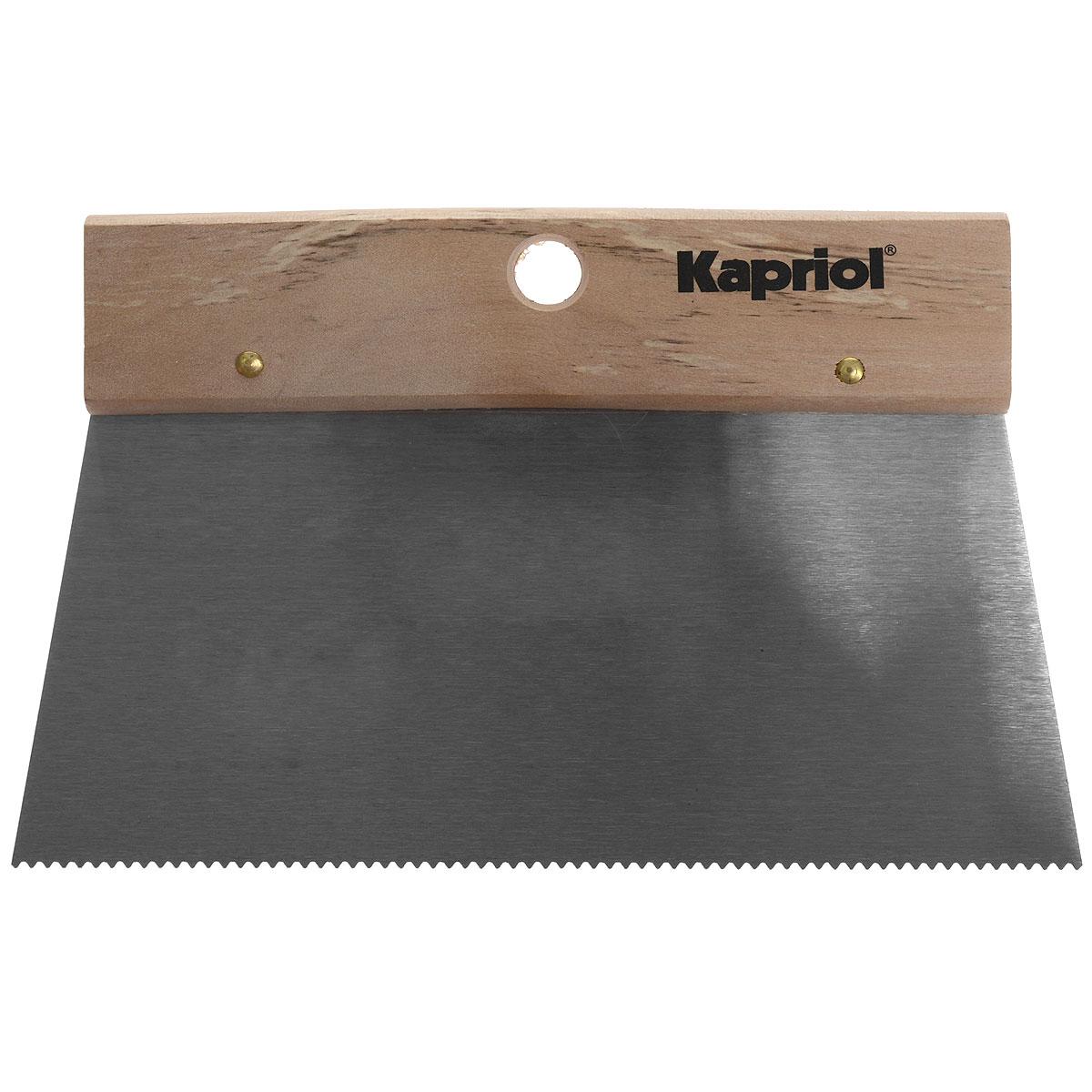 Шпатель зубчатый для клея Kapriol, с деревянной ручкой, зуб 3 х 1,6 мм, 20 см23192Шпатель зубчатый для клея Kaprio предназначен для равномерного распределения клея на плитку, линолеум, ковролин. Полотно изготовлено из закаленной стали. Ручка из дерева.