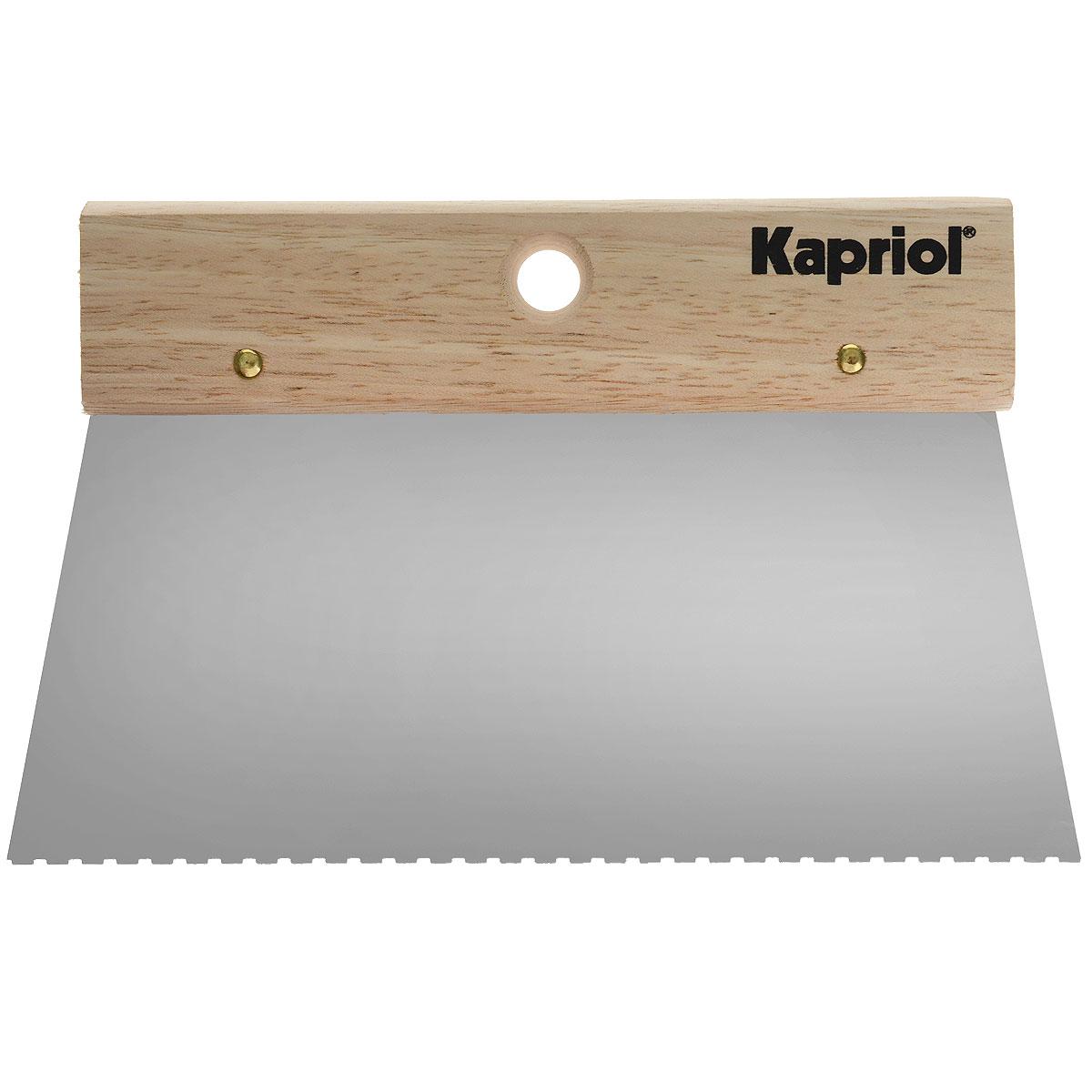 Шпатель зубчатый для клея Kapriol, с деревянной ручкой, зуб 4 х 2,5 х 1 мм, 20 см23190Шпатель зубчатый для клея Kapriol предназначен для равномерного распределения клея на поверхность (стены, потолок и др.). Полотно изготовлено из закаленной стали. Деревянная ручка.