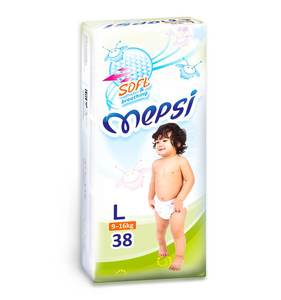 Mepsi Подгузники, 9-16 кг, 38 шт0017Новая коллекция подгузников Mepsi со сверхмягким рельефным внутренним слоем. Mepsi - комфортный подгузник. Рельефный слой точечно соприкасается с кожей малыша и создает отличную вентиляцию. Бортики стали мягче, надежно фиксируются на ножке ребенка, обеспечивая защиту от бокового протекания. Mepsi - сухой подгузник. Впитывающая основа сделана из лучших сортов целлюлозы и суперабсорбента, моментально впитывает влагу и удерживает ее. Mepsi – дышащий подгузник. Используемые материалы пропускают воздух, тем самым предотвращается парниковый эффект. Кожа малыша остается сухой и здоровой. Подгузники Mepsi - актуальный выбор современных родителей. Характеристики: Размер: L. Вес ребенка: 9-16 кг.