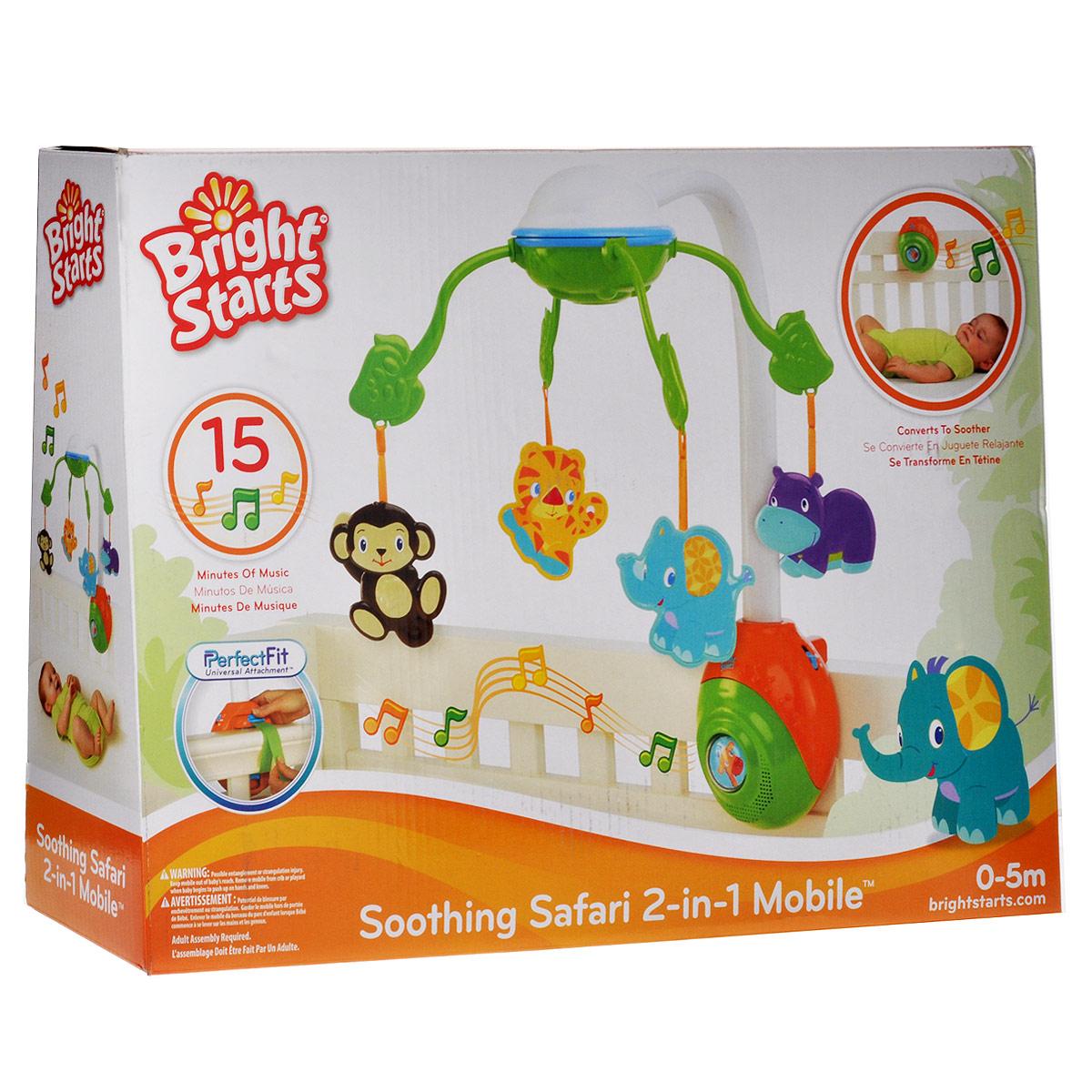 Музыкальный мобиль Bright Starts Сафари8352_обезьяна, тигр, слон, бегемотЯркий музыкальный мобиль Сафари - оригинальная музыкальная игрушка, создающая атмосферу уюта и спокойствия в детской комнате. Под приятные мелодии на мобиле медленно вращаются разноцветные пластиковые игрушки: тигренок, обезьянка, cлоненок и бегемотик. К стойке мобиля крепится съемный музыкальный блок, в центре которого расположена кнопка с изображением жирафа под прозрачным окошком. Мобиль воспроизводит 6 различных мелодий с максимальной длительностью 15 минут. Когда малыш подрастет, музыкальный блок можно будет закрепить на бортике кроватки, и ребенок сможет включать мелодии самостоятельно. Подвесные игрушки привлекут внимание малыша и помогут развитию зрения и цветового восприятия, а мелодичные звуки разовьют звуковое восприятие. В комплект также входит инструкция по эксплуатации мобиля на русском языке. Средний размер игрушки: 8 см х 8 см. Размер музыкального блока: 14 см х 17 см х 8 см. Необходимо докупить 3 батарейки типа C/LR14...