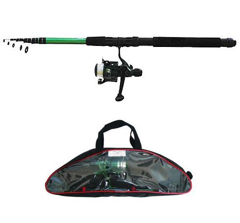 Спиннинг телескопический Salmo Taifun Tele Pack, 2,4 м, 10-30 г2108-240SETУниверсальный спиннинг-комплект для начинающего спиннингиста, состоящий из телескопического спиннингового удилища Taifun Tele Set и катушки Taifun. Компактный комплект подходит для ловли щуки-травянки, окуня и другой хищной рыбы среднего размера. На шпулю катушки намотана монофильная леска. Комплект упакован в удобную пластиковую сумку с замком-молнией. Особенности: Материал бланка удилища - стекловолокно; Строй бланка средний; Класс спиннинга L, ML; Конструкция телескопическая; Тип удилища - TRAVEL; Усиление стыка колена металлическим кольцом; Кольца пропускные: - паянные к опорному кольцу, - со вставками керамическими. Рукоятка: неопреновая; Катушкодержатель винтового типа; Катушка безынерционная TAIFUN с леской.