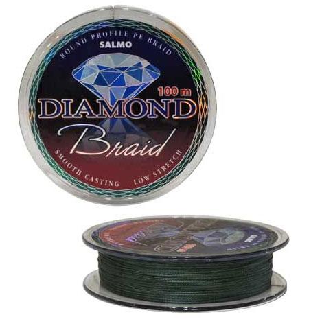 Шнур плетеный Salmo Diamond Braid, цвет: зеленый, сечение 0,24 мм, длина 100 м4905-024Плетеный шнур универсального применения. Рекомендуется использовать в тех случаях, когда требуемая прочность не может быть достигнута обычными нейлоновыми лесками. Шнур круглого сечения с классическим плетением из 4-х прядей. Особенности: повышенная износостойкость; высокая чувствительность – коэффициент растяжения близок к нулю; отсутствует память; зеленая расцветка; тест: 12,68 кг.