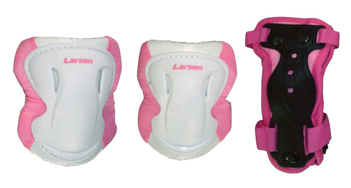 Защита роликовая Larsen Pink, цвет: белый, розовый. Размер M286887
