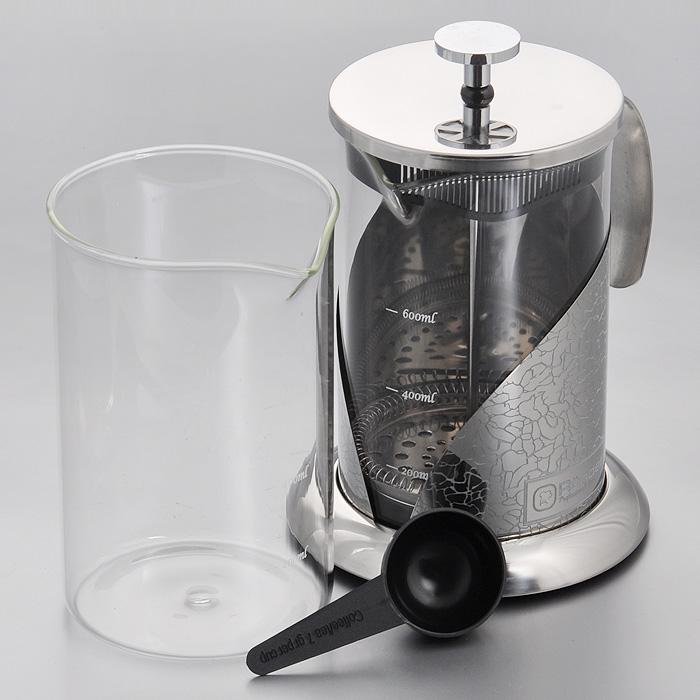 Френч-пресс Rondell Vintage, с ложечкой, 800 мл + запасная колбаRDS-365Френч-пресс Rondell Vintage выполнен из высококачественной пищевой нержавеющей стали с зеркальной полировкой и жаропрочного стекла. Жаропрочное стекло может выдерживать температуру до 180°С. Фильтр-поршень из нержавеющей стали обеспечивает равномерную циркуляцию воды и насыщенность напитка. С его помощью также можно регулировать степень крепости чая. Колба имеет отметки литража, что позволяет соблюдать рецептуру без дополнительных предметов. Френч-пресс оснащен теплосберегающей крышкой и удобной ненагревающейся ручкой. Основание френч-пресса снабжено нескользящей силиконовой вставкой. Особый шик и привлекательность придает эксклюзивный изысканный дизайн, не похожий на другие - рисунок в виде кракелюра. В комплект входит пластиковая мерная ложечка, сменная колба для удобства заваривания разных видов напитков и буклет с рецептами оригинальных напитков из чая и кофе. Френч-пресс Rondell Vintage позволит быстро и просто приготовить свежий и ароматный кофе или чай. ...