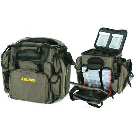 Сумка рыболовная Salmo 20, цвет: зеленыйH-3520Многофункциональная сумка для различных рыболовных принадлежностей. Сумка имеет два больших кармана сбоку, два спереди и несколько карманов для мелочей. Так же есть жесткое отделение для хранения очков. В комплекте пять пластиковых коробок, размером 28 см х 18 см х 4 см с многочисленными отделениями. Двойная ручка и мягкий, регулируемый по длине, наплечный ремень.