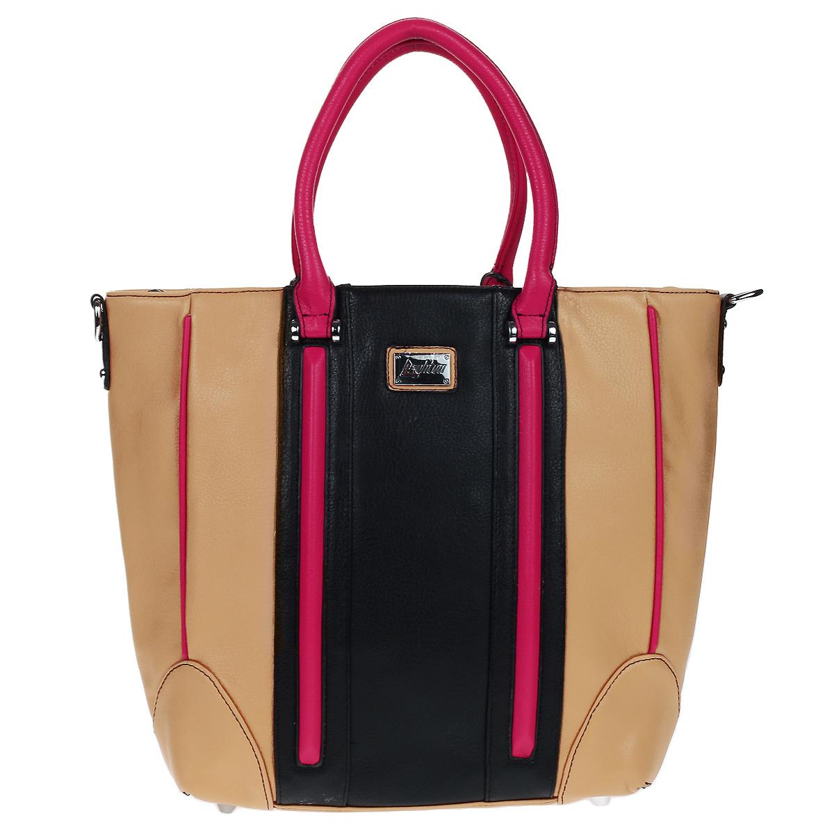 Сумка женская Leighton, цвет: бежевый, черный, розовый. 580442-149580442-149/23/149/1Стильная сумка Leighton выполнена из искусственной кожи бежевого цвета и оформлена вставками из кожи розового и черного цветов. Сумка имеет одно вместительное отделение, разделенное средником на молнии, и закрывается на застежку-молнию. Внутри - два накладных кармашка и вшитый карман на молнии. На задней стороне сумки имеется вшитый карман на молнии. Сумка оснащена двумя удобными ручками. Фурнитура выполнена из серебристого металла. В комплекте съемный плечевой ремень и чехол для хранения. Модная сумка подчеркнет ваш яркий стиль и сделает образ модным и завершенным.