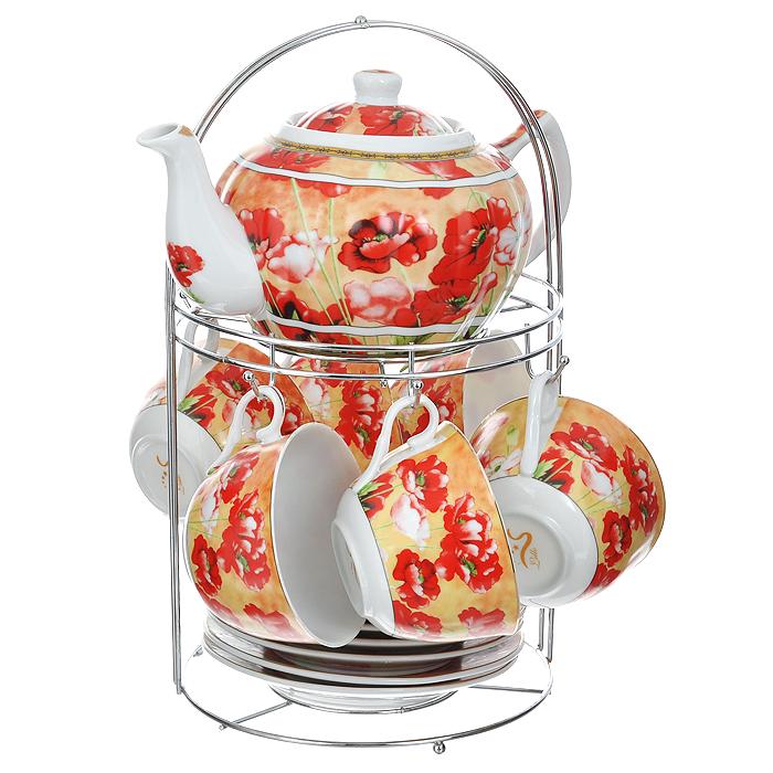 Набор чайный Lillo на подставке, 13 предметов. 213489213489Чайный набор Lillo состоит из шести чашек, шести блюдец и заварочного чайника. Предметы набора изготовлены из высококачественного фарфора и оформлены изображением маков. Все предметы располагаются на удобной металлической подставке с ручкой. Элегантный дизайн набора придется по вкусу и ценителям классики, и тем, кто предпочитает утонченность и изысканность. Он настроит на позитивный лад и подарит хорошее настроение с самого утра. Чайный набор Lillo идеально подойдет для сервировки стола и станет отличным подарком к любому празднику. Чайный набор упакован в красочную подарочную коробку из плотного картона.