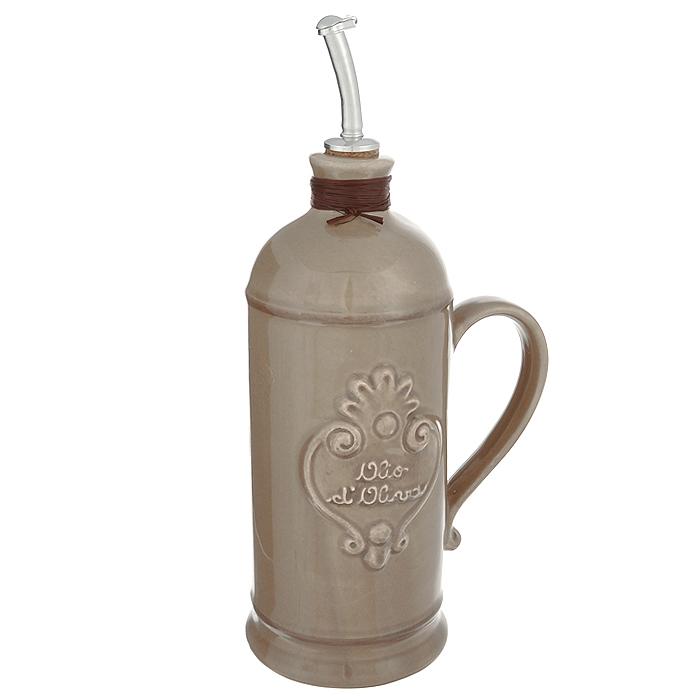 Бутылка для масла Nuova Cer, цвет: серый, 750 мл. NC9046-TRT-ALNC9046-TRT-ALБутылка для масла Nuova Cer выполнена из высококачественной керамики серого цвета. Емкость оснащена удобной ручкой и пробкой с металлическим разбрызгивателем. Бутылка легка в использовании, стоит только перевернуть ее, и вы с легкостью сможете добавить оливковое или подсолнечное масло по своему вкусу. Оригинальная емкость будет отлично смотреться на вашей кухне. Изделие можно мыть в посудомоечной машине.