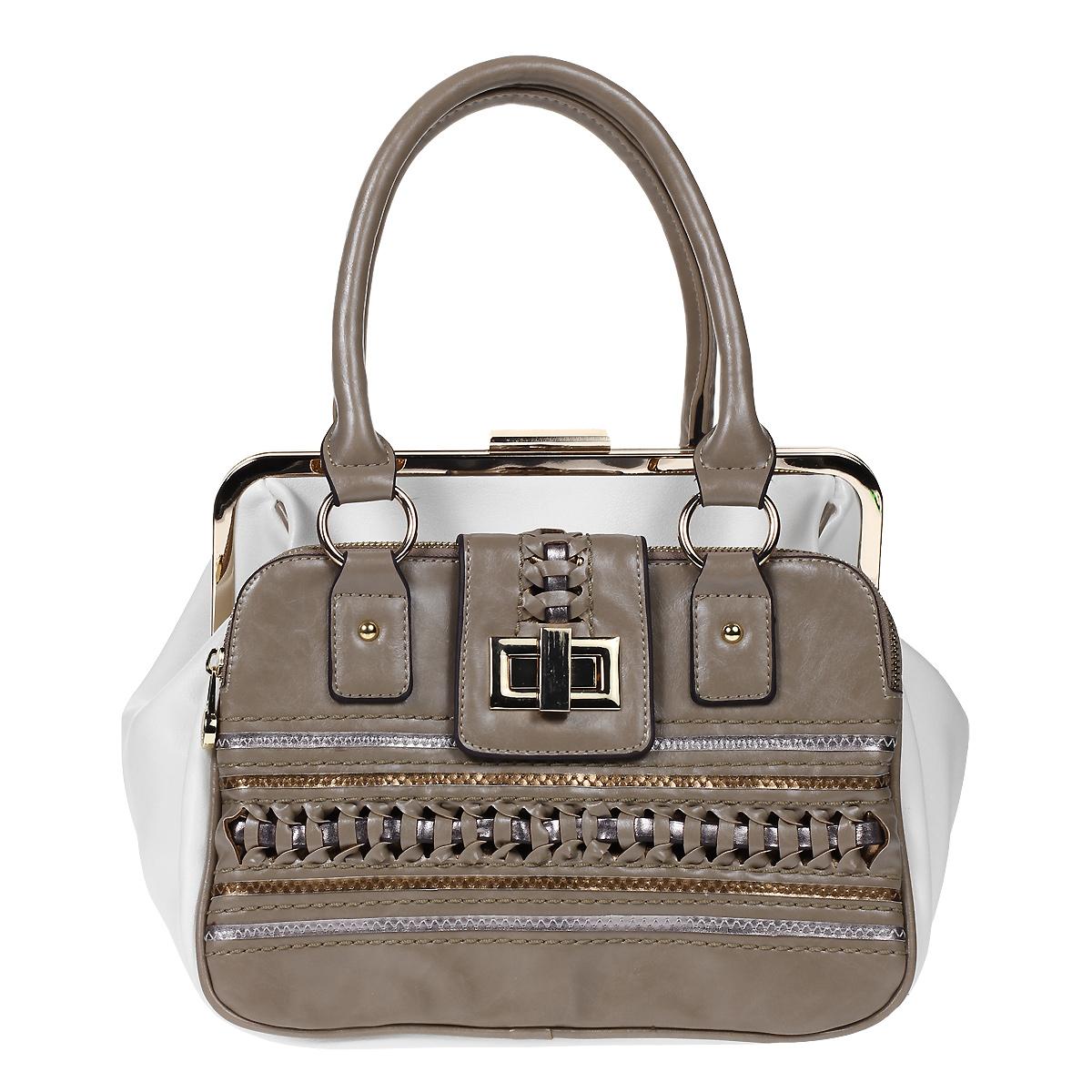 Сумка женская Baggini, цвет: белый, бежевый. 29380/3129380/31Стильная сумка Baggini выполнена из матовой искусственной кожи. Фурнитура - из золотистого металла. Сумка имеет одно вместительное отделение, которое закрывается на металлическую зещелку. Внутри - вшитый карман на молнии и два накладных кармашка для мелочей. На лицевой стенке сумки расположен кармашек на молнии и открытый кармашек, который закрывается хлястиком на поворотный замок. Модель оснащена удобными ручками, позволяющим носить сумку на плече. Сумка - это стильный аксессуар, который подчеркнет вашу изысканность и индивидуальность и сделает ваш образ завершенным.