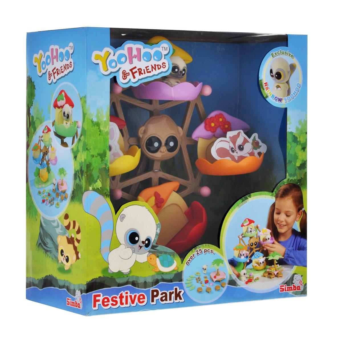 Simba Игровой набор YooHoo & Friends Каруселька5955312Игровой набор YooHoo & Friends Каруселька не оставит равнодушной ни одну девочку. YooHoo и его друзья хотят отдохнуть и повеселиться! Они решили покататься на вращающемся колесе обозрения и устроить пикник. За столом для пикника друзья могут сидеть и есть вкусные плоды. Набор включает в себя колесо обозрения, стол для пикника с зонтиком, многочисленные стулья и фрукты и уникальную фигурку в виде YooHoo, приятную на ощупь. Благодаря маленьким размерам элементов набора ваша малышка сможет брать его с собой на прогулку или в гости. Порадуйте ее таким замечательным подарком! Характеристики: Материал: текстиль, пластик. Высота фигурки: 4 см. Высота колеса: 24 см. Диаметр столика: 8 см.