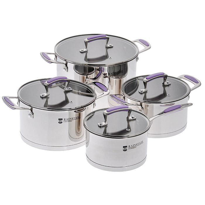 Набор посуды Rainstahl, 8 предметов. 1083RS1083RSНабор посуды Rainstahl состоит из трех кастрюль и ковша. Предметы набора выполнены из нержавеющей хромоникелевой стали 18/10. Износостойкость, долговечность и надежность этого материала, а также первоклассная обработка обеспечивают практически неограниченный запас прочности. Зеркальная полировка придает посуде стильный и привлекательный внешний вид. Изделия имеют многослойное термоаккумулирующее дно с алюминиевым основанием, которое быстро и равномерно накапливает тепло и также равномерно передает его пище. Такое дно позволяет готовить блюда с минимальным количеством воды и жира, сохраняя при этом вкусовые и питательные свойства продуктов. Применение технологии диффузной сварки (импакт дно) многослойного дна создает эффект удержания тепла - пища готовится и после отключения плиты благодаря термоаккумулирующим свойствам посуды. Диаметры изделий соответствуют общепринятым размерам конфорок бытовых плит. Изделия оснащены удобными литыми металлическими ручками с резиновыми...