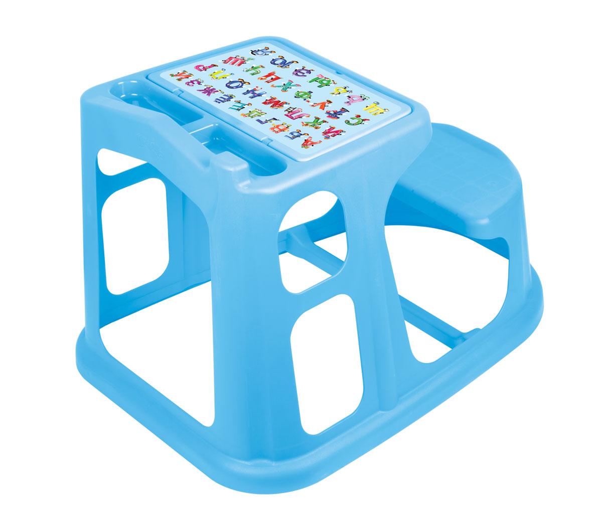 Стол-парта Алфавит, цвет: голубой, 55 см х 73 см х 50 смС13771_голубойСтол-парта Алфавит, выполненная из прочного полипропилена без содержания бисфенола А, послужит для вашего малыша удобным рабочим местом во время конструирования, лепки, рисования или просто игры. Столешница с крышкой имеет специальные углубления для карандашей, кисточек и фломастеров, а под крышкой расположены три ниши для хранения красок, блокнотов и других мелочей. Крышка оформлена изображением цифр от 1 до 9. Парта имеет устойчивую конструкцию и безопасные закругленные углы и для удобства совмещена со скамейкой. Порадуйте своего ребенка таким замечательным подарком!