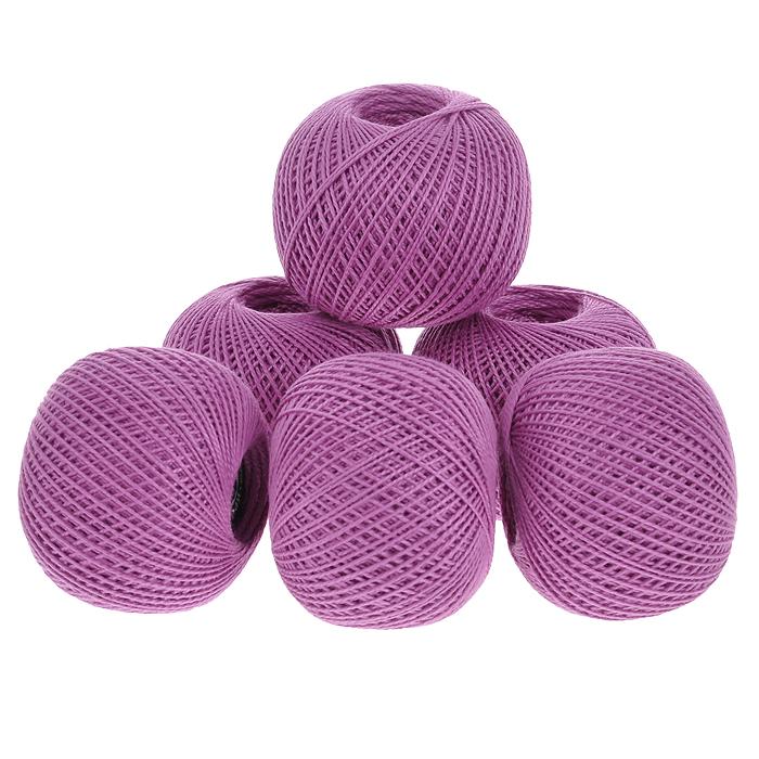 Нитки вязальные Ирис, хлопчатобумажные, цвет: сиреневый (1706), 150 м, 25 г, 6 шт0211102001778Вязальные нитки в 2 сложения Ирис изготовлены из 100% хлопка. Такие нитки используются для вязания крючком. Нити крученые, однотонные, мерсеризованные. В наборе - 6 клубков. С их помощью вы сможете связать своими руками необычные и красивые вещи.