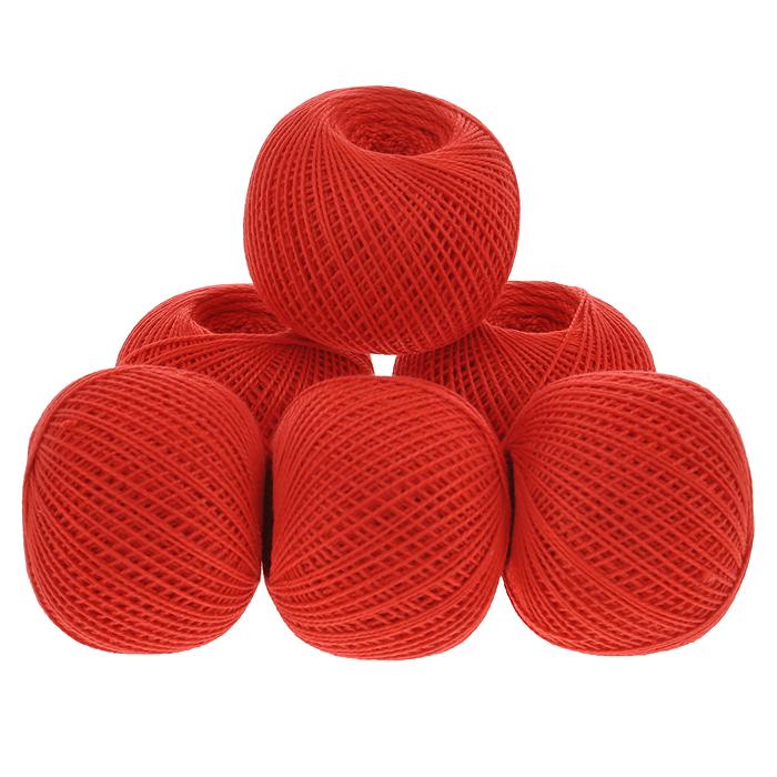 Нитки вязальные Ирис, хлопчатобумажные, цвет: алый (0810), 150 м, 25 г, 6 шт0211101915778Вязальные нитки в 2 сложения Ирис изготовлены из 100% хлопка. Такие нитки используются для вязания крючком. Нити крученые, однотонные, мерсеризованные. В наборе - 6 клубков. С их помощью вы сможете связать своими руками необычные и красивые вещи.