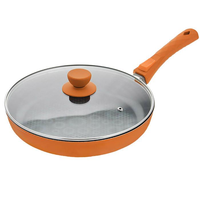 Сковорода Bohmann с крышкой, со съемной ручкой, с керамическим 3D покрытием, цвет: оранжевый. Диаметр 26 см7026BH/2-3DСковорода Bohmann изготовлена из литого алюминия с антипригарным керамическим покрытием. Благодаря керамическому покрытию пища не пригорает и не прилипает к поверхности сковороды, что позволяет готовить с минимальным количеством масла. Кроме того, такое покрытие абсолютно безопасно для здоровья человека, так как не содержит вредной примеси PTFE. Сковорода оснащена съемной ручкой, выполненной из бакелита. Такая ручка не нагревается в процессе готовки и обеспечивает надежный хват. Можно мыть в посудомоечной машине. Диаметр индукционного диска сковороды: 22 см. Высота стенок сковороды: 4,5 см. Толщина стенок: 7 мм. Толщина дна: 4 мм. Длина ручки сковороды: 17,5 см.