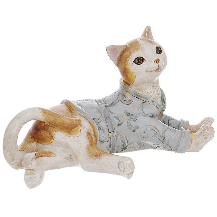 Статуэтка декоративная Кот, высота 12 см. 3385233852Декоративная статуэтка Кот изготовлена из полирезины. Такая фигурка подойдет для декора интерьера дома или офиса. Вы можете поставить фигурку в любом месте, где она будет удачно смотреться и радовать глаз. Кроме того - это отличный вариант подарка для ваших близких и друзей.