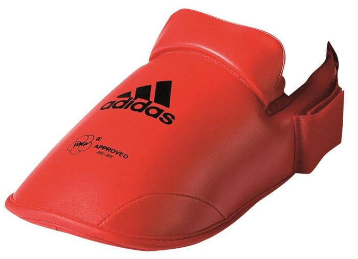 Защита стоп Adidas WKF Foot Protector, цвет: красный. 661.50. Размер XL (45-47)661.50Защита стоп Adidas WKF Foot Protector с объемным наполнителем необходимы при занятиях спортом для защиты пальцев, суставов стопы от вывихов, ушибов и прочих повреждений. Накладки выполнены из высококачественного полиуретан PU3G. Накладки прочно фиксируются за счет эластичной ленты и липучки. Удобные и эргономичные накладки Adidas идеально подойдут для занятий карате и другими видами единоборств. Одобрены WKF.