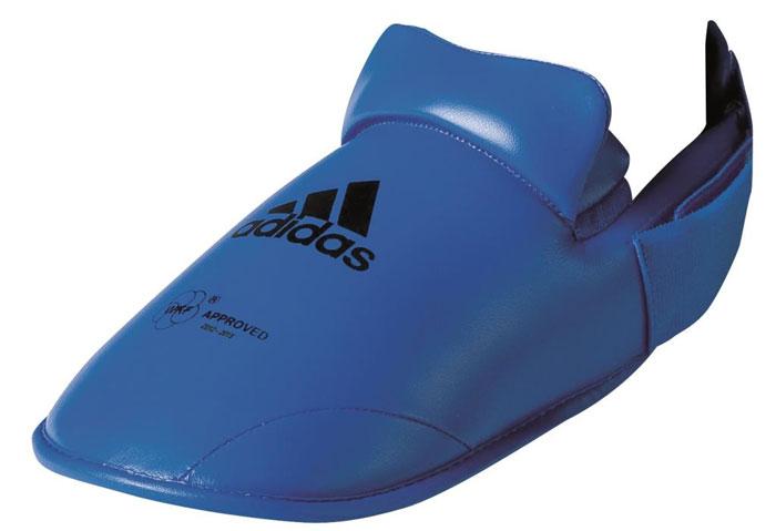 Защита стоп Adidas WKF Foot Protector, цвет: синий. 661.50. Размер L (42-44)661.50Защита стоп Adidas WKF Foot Protector с объемным наполнителем необходима при занятиях спортом для защиты пальцев, суставов стопы от вывихов, ушибов и прочих повреждений. Накладки выполнены из высококачественного полиуретан PU3G. Накладки прочно фиксируются за счет эластичной ленты и липучки. Удобные и эргономичные накладки Adidas идеально подойдут для занятий карате и другими видами единоборств. Одобрены WKF.