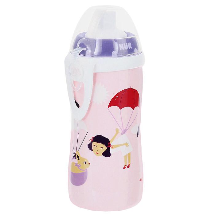 Бутылочка-поильник NUK Flexi Cup, с силиконовой трубочкой, 300 мл, от 24 месяцев, цвет: сиреневый, розовый10.750.601Бутылочка-поильник NUK Flexi Cup разработана специально для малышей от 24 месяцев для легкого перехода от груди к бутылочке, а от бутылочки к самостоятельному питью. Бутылочка выполнена из полипропилена без содержания бисфенола-А. Эластичная силиконовая трубочка для питья исключает протекание, а за счет герметичного специального клапана в трубочке не остается жидкости. Благодаря ультра-легкому эргономичному дизайну бутылочку-поильник удобно держать как взрослому, так и ребенку, а пластиковая клипса позволит легко и надежно прикрепить бутылочку к коляске, сумке или одежде. Симпатичные парашютики привлекут внимание крохи и подарят радость и яркие впечатления.