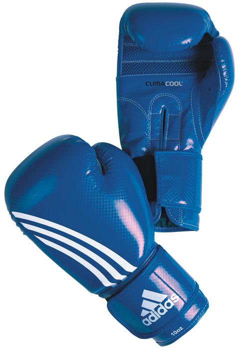 Перчатки боксерские Adidas Shadow, цвет: синий. adiBT031. Вес 8 унцийadiBT031Боксерские перчатки из искусственной кожи с отделкой внутренней области пальцев. Система ClimaCool - микровентиляция, способствует полному удалению внутренней влаги. Упругая застежка на липучке шириной 6,5 см. Новшество IMT (Интеллектуальная Технология Формовки)- пена с интегрированным гелем. Контрастное сшивание.