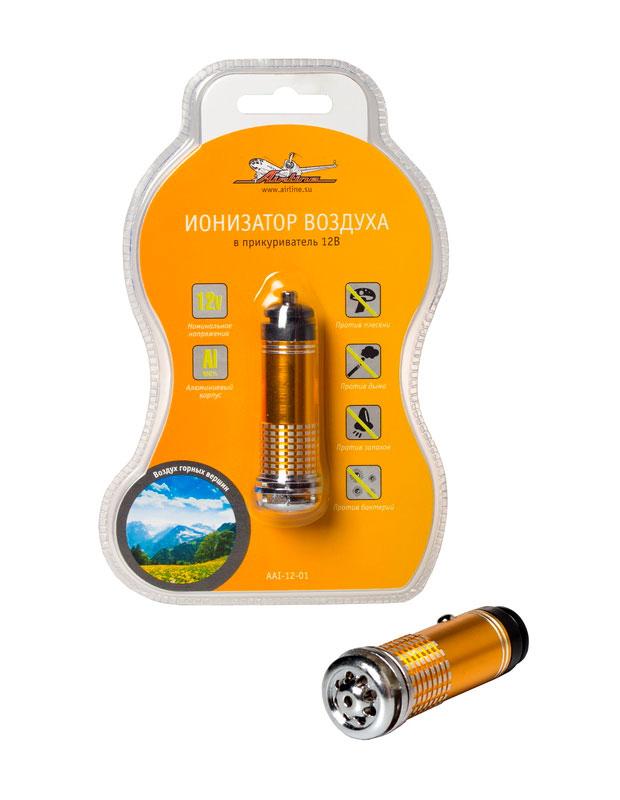 Ионизатор воздуха Airline AAI-12-01, автомобильныйAAI-12-01Ионизатор Airline AAI-12-01 используется для очистки воздуха в салоне автомобиля от неприятных запахов и мелких аллергенных частиц пыли. Насыщает салон автомобиля ионами, которые создают ощущение свежего горного воздуха! Устройство выполнено в стильном анодированном алюминиевом корпусе и при включении в прикуриватель подсвечивается синим цветом.