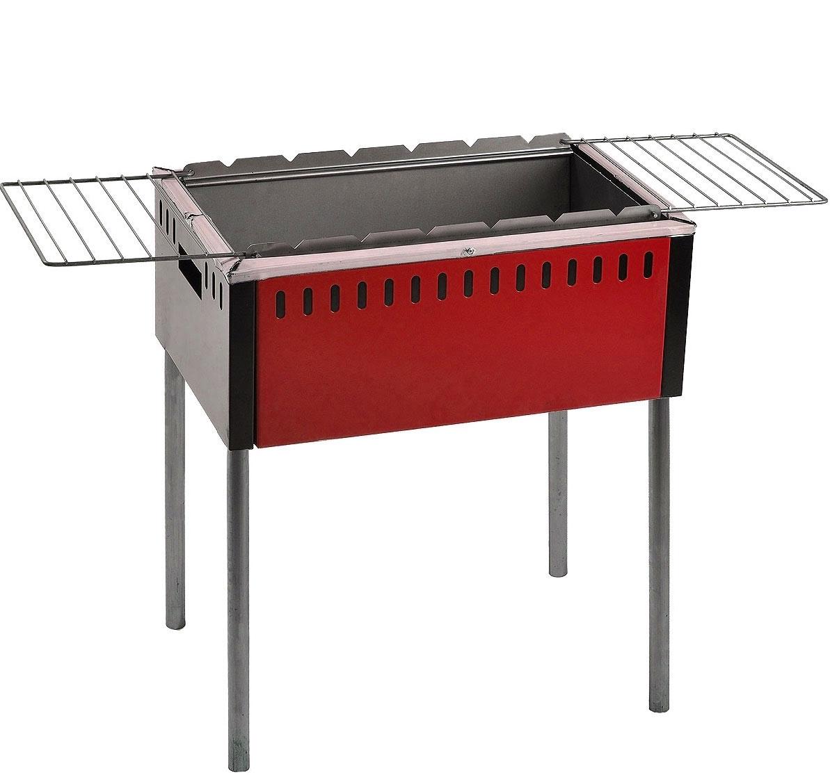 Мангал с откидными решетками Safer, цвет: серый, красный
