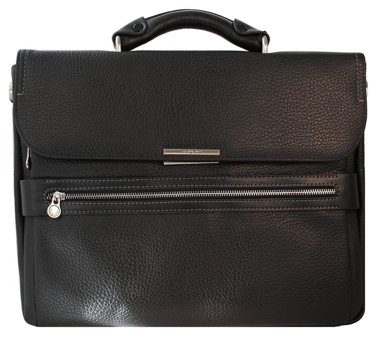 Сумка мужская Malgrado, цвет: черный. BR11-563BR11-563 blackОригинальная мужская сумка Malgrado из натуральной кожи черного цвета. Сумка оснащена удобной ручкой и закрывается клапаном на металлическую защелку. Внутри расположено одно отделение, вшитый кармашек на молнии, карман на кнопке для бумаг. Под клапаном расположен нашивной кармашек, в нем расположено два кармашка для визиток и кредитных карт, два кармашка для мелочей и телефона и два фиксатора для пишущих принадлежностей. Также на лицевой стороне расположен вшитый кармашек на молнии. На задней стороне расположен вшитый кармашек на молнии. Прилагается съемный плечевой текстильный ремень. Характеристики: Материал: натуральная кожа, текстиль, металл. Размер сумки: 40 см х 32 см х 8 см. Высота ручек: 6 см. Длина плечевого ремня: 70-140 см. Цвет: черный.