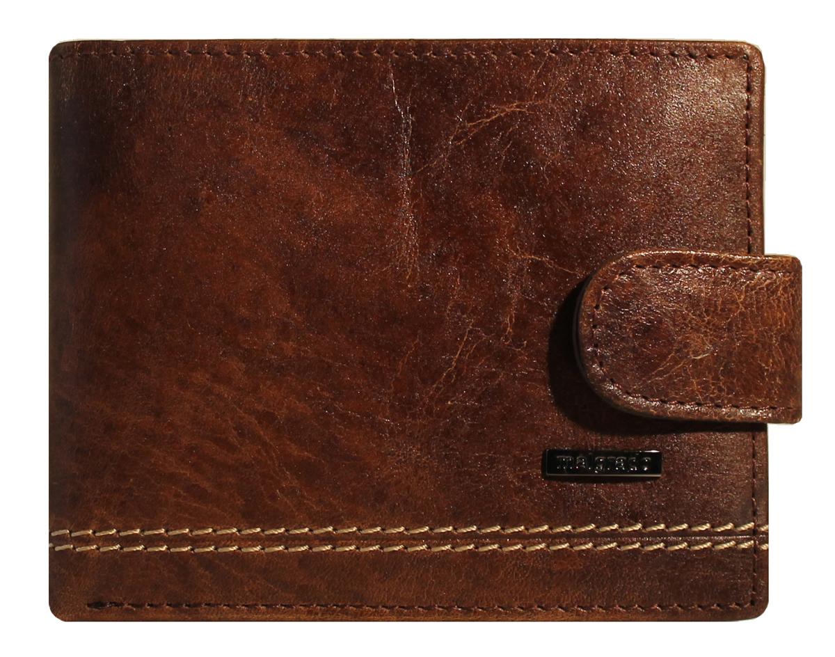 Портмоне Malgrado, цвет: коричневый. 32001-9-439А Brown32001-9-439А BrownПортмоне Malgrado выполнено из высококачественной натуральной кожи коричневого цвета с логотипом фирмы, украшено двойной строчкой. Портмоне имеет два кармана для купюр, шесть отделений для визиток, два скрытых кармашка. Портмоне закрывается хлястиком на кнопку. Это элегантное портмоне непременно подойдет к вашему образу и порадует простотой, стилем и функциональностью. Портмоне упаковано в коробку из плотного картона с логотипом фирмы. Характеристики: Материал: натуральная кожа, текстиль, металл. Размер портмоне в сложенном виде: 11 см х 8 см х 1 см.