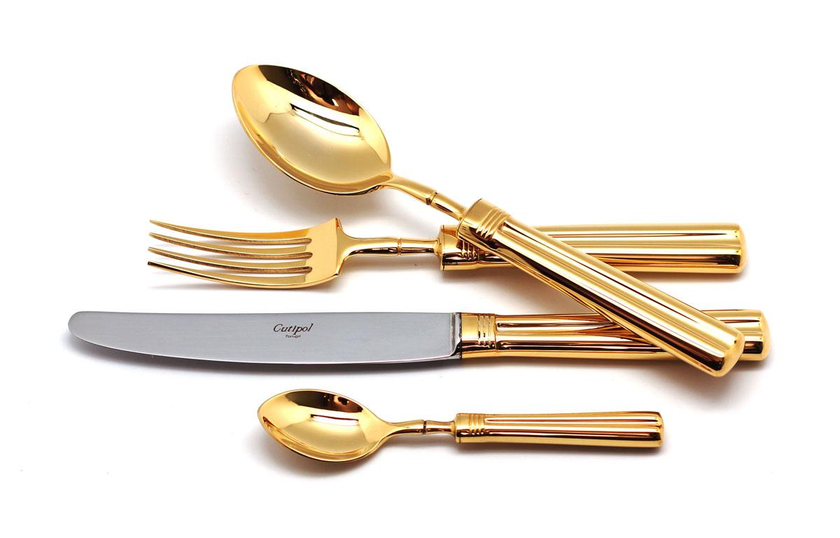 Набор столовых приборов Cutipol Fontainebleau Gold, 72 предмета9161-729161-72 FONTAINEBLEAU GOLD Набор 72 пр. Характеристики: Материал: сталь. Размер: 660*305*225мм. Артикул: 9161-72.